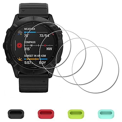 Protector de pantalla para Garmin Fenix 6X Pro / 6X Pro / 6X Pro Solar / 6X Watch + tapones de silicona antipolvo, iDaPro vidrio templado antiarañazos, sin burbujas
