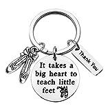 CENWA Dance Teacher Gift Dance Teacher Appreciation Gift It Takes A Big Heart To Teach Little Feet Keychain Ballet Gift(Teach little feet K)