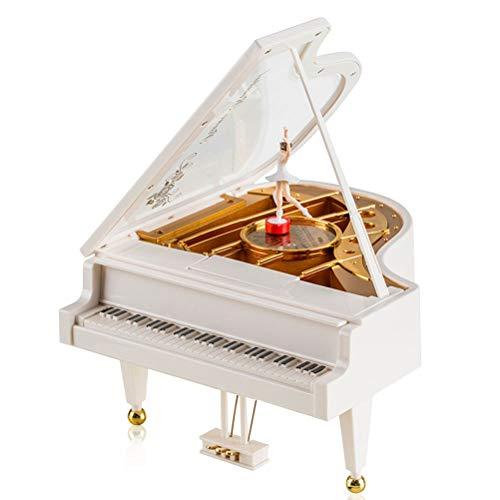 AOI Forma clásica de Piano de Cola Mecanismo Bailarina Chica Baile Cumpleaños de los niños Juguete 11.5 * 12.5 * 14cm (Blanco)