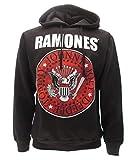 Ramones - Sudadera negra para hombre con capucha, impresión frontal con logotipo blanco y rojo, sudadera musical Negro XS