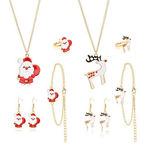 HOWAF 10pcs Weihnachten Schmuck Sets für Kinder Mädchen, Weihnachten Halskette Armbänder Ringe Ohrringe Anhänger Zierschmuck zum Mädchen Weihnachten Adventskalender Geschenk Dekoration Zubehör
