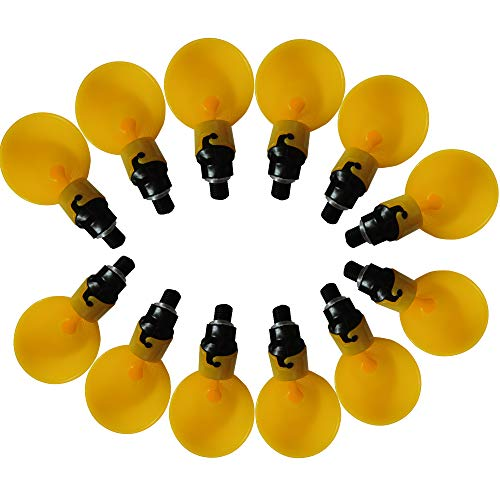 Chicken Water Bowls Automatic Poultry Drinker Chick Quail Drinking Cups(Yellow(12pcs))