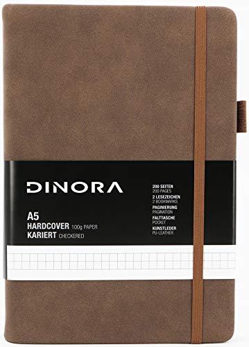 Dinora® Notizbuch A5 Hardcover - Kariert - PU Leder - 200 nummerierte Seiten - 100g Avery Papier - Braun