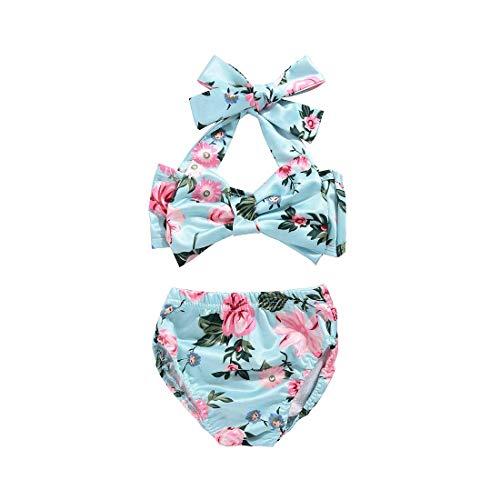 Cute Baby Girls 2Pcs Bikini Bathing Swimsuit Halter Tube Top+Floral Bottom Summer Sunsuit (Floral, 0-6Months)