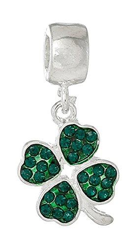 Mejor ala joyería 'verde trébol de cuatro hojas/W verde Cristales' Dangle Charm Bead