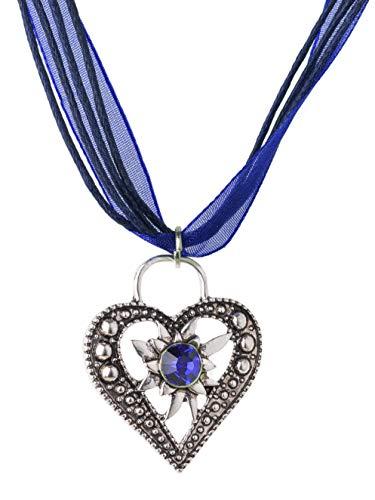 Trachtenkette Wiesnstein eleganter Herz Anhänger mit Strass - viele Farben - Trachtenschmuck Kette für Dirndl und Lederhose (Blau)