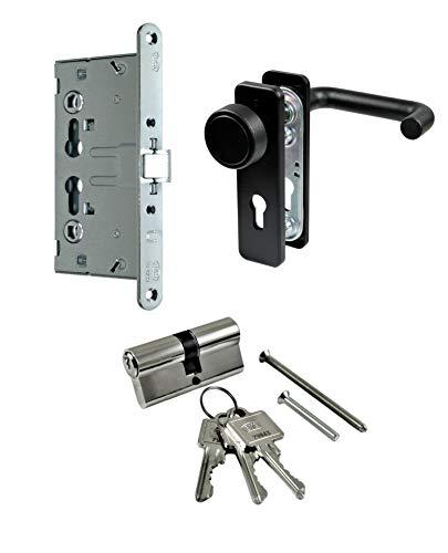 SN-TEC Stahltür/FH Tür Komplett Set Beschlag (einseitig Knauf) + FH Schloss (DIN Links/Rechts Falle und Riegel Mittig) + Profilzylinder