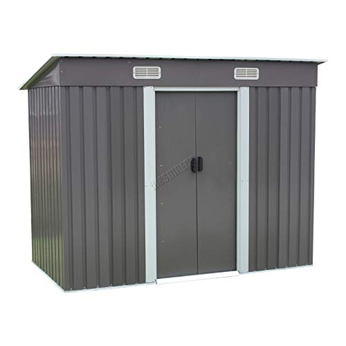 BIRCHTREE Garden Shed Metal Pent Roof 4FT X 6FT Outdoor Storage With Free Foundation Grey and White