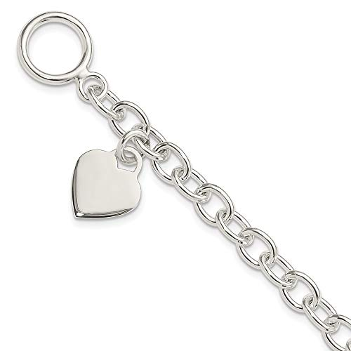 925 Sterling Silver Dangling Engraveable Heart Charm Bracelet 7.25 Inch Fine Jewelry For Women Gifts For Her