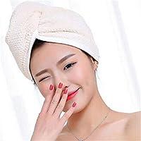 美しいシャワーキャップ CGOH -2020マイクロファイバークイックドライタオルラップヘアキャップシャワーキャップシャワーバスルームタオルドライヘアキャップバスルームアクセサリーDIY(カラー:大) (Color : Beige)