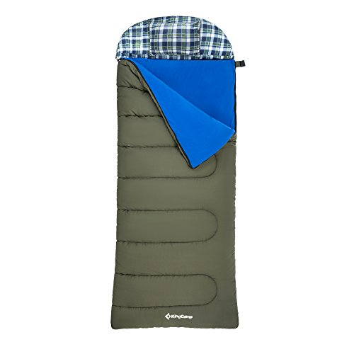 KingCamp 3-in-1 Deckenschlafsack übergroßer Schlafsack mit Kopfkissen für Camping Outdoor, abnehmbares Fleece-Inlett