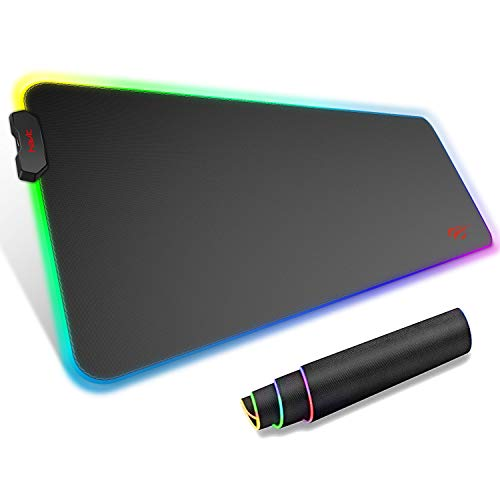 【RGB Backlit Mouse Pad】The gaming mouse pad features 7 static light modes and 7 dynamic modes. RGB backlighting creates a cool gaming environment, perfect for pc gaming. 【Smooth Surface and Non-slip Base】The big mouse pad is made of super fiber and s...