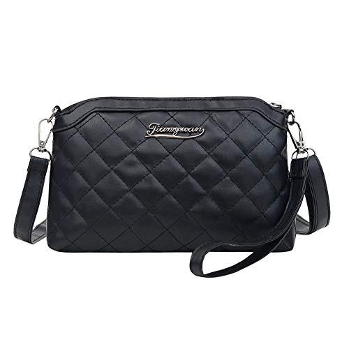 Black Fashion Lattice Pattern Crossbody Bag Women PU Leather Zipper Shoulder Clutches Handbags Female Elegant Messenger Totes Pouch