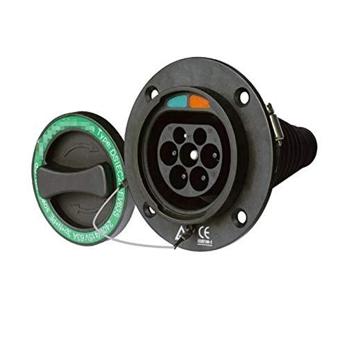 XIAOSHI Little Oriental EV-Ladestecker 16AMP 32AMP Typ 2 IEC 62169-2 Mennekes-Buchse männliche Einlassbuchsen EU-Standard-Inlat 32A EV-Seite (Color : 32A Three Phase)