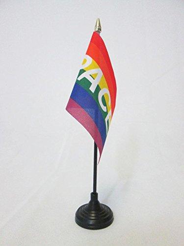 AZ FLAG Bandera de Mesa Arco Iris Paz 15x10cm - BANDERINA de DESPACHO Pace – Arcoiris Rainbow 10 x 15 cm Punta Dorada