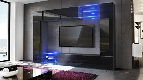 Wohnwand – Moderne Wohnzimmer Anbauwand in schwarz kaufen  Bild 1*