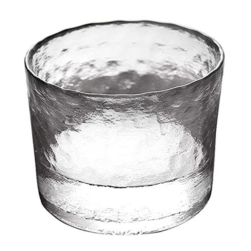 wangYUEQ Cubo de Hielo de Vidrio de Vidrio de Cristal, Cubo de Hielo de la Cerveza de Cristal Transparente Redondo, Calibre 11.5 cm/Barra Profesional de la Barra de Hielo