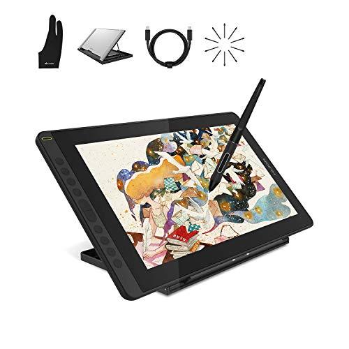 HUION Kamvas 16 (2021) Tableta Gráfica de Dibujo Digital, 15.6    HD Totalmente Laminado con lápiz Stylus 8192 sin batería Presión y Soporte Ajustable, óptima para Oficina en casa y e-Learning