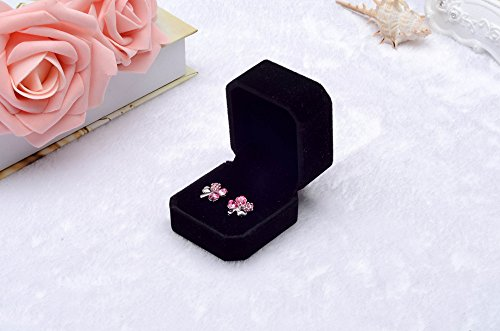 Fashion Velvet Engagement Wedding Earring Ring Pendant Jewelry Display Box Black, Housekeeping & Organizers, for Christmas New Year (BK)