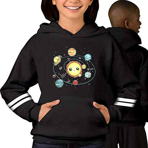 Youth Nine Planets Casual Print Pullover Hooded Sweatshirt Hoodies for Kids Black M