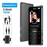 MP3 Player with Bluetooth 4.2 Jimwey 16GB Portable Lossless Digital Music Player with Earphone Armband 2.4-Inch Screen FM Radio Recorder Video Player Text Reading, Built-in Speaker, Touch Button