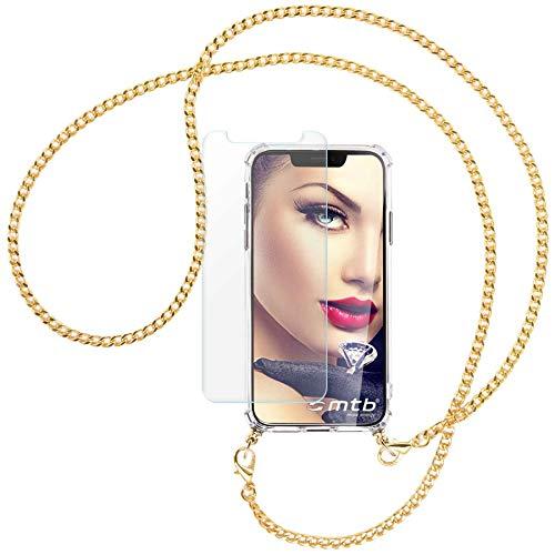 mtb more energy® Handykette + Schutzglas kompatibel mit iPhone 12 Pro Max (6.7\'\') - Metallkette (Gold) - Smartphone Hülle zum Umhängen - inklusive Display-Schutz