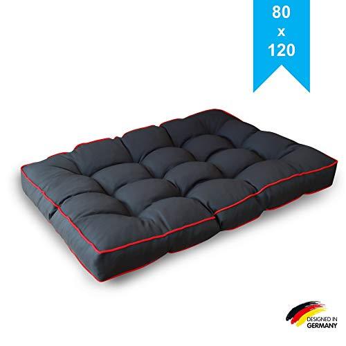 LILENO HOME Palettenkissen Set Anthrazit u. Rot - Sitzkissen 120x80x20 cm - Polster für Europaletten - Palettenkissen Outdoor als Sitzkissen für Palettenmöbel