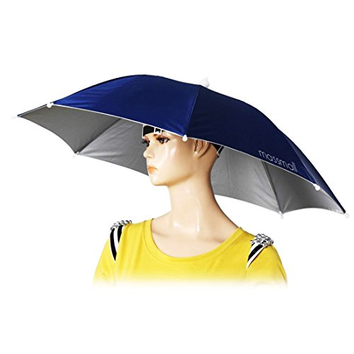 massmall 26' Diameter Elastic Band Fishing Headwear Umbrella Hat Dark Blue