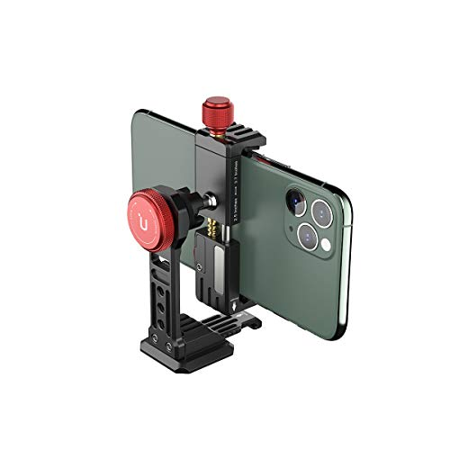Cell Phone Tripod Mount, ULANZI ST-14 Smartphone Tripod Mount Adapter Aluminum with Cold Shoe, 360° Cell Phone Stand Holder Clamp for iPhone 12 11 Max Pro iPhone X XR Xs 6 7 Plus