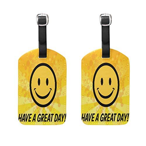 TIKISMILE Smiley Icon Leder-Gepäckanhänger, Koffer-Etiketten, Reiseanhänger, 2er-Set