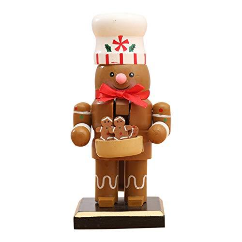 Nivi decoración de escritorio, Navidad Cascanueces de madera adornos de cascanueces figuras juguete con Papá Noel muñeco de nieve pingüino chef marioneta decoración de escritorio