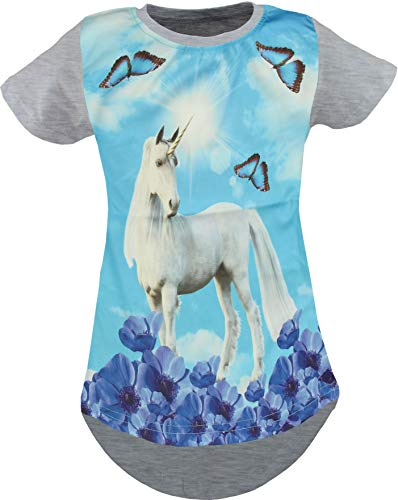 Unicorn Unicornio Pegasus Niños Niñas 3D Impresión Larga Camiseta Blusa Manga Corta Túnica Unicornio Gris. 104 cm-110 cm