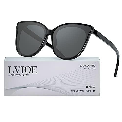 Gafas de sol estilo ojo de gato extragrandes con lentes de protección 100% UV polarizadas para las mujeres que conducen gafas de moda (Marco Negro/Lente Gris)