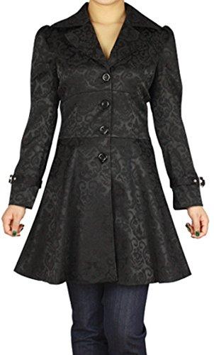 (XS-26) Foggy Night in Paris – Black Victorian Gothic Corset Ruffle Jacquard Jacket