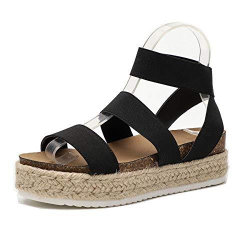 Women Slide On Footbed Wedge Sandals Comfort Ankle Platform Espadrilles Sandals with Elastic Straps (12 M US, Black)