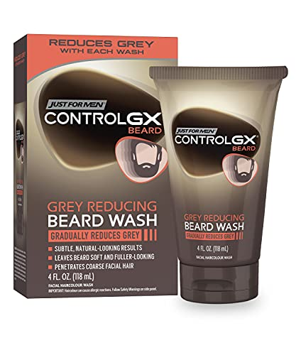 Just For Men Control GX Grey Reducing Beard Wash Shampoo, Gradually Colors Mustache and Beard, Leaves Facial Hair Softer and Fuller, 4 Fl Oz - Pack of 1