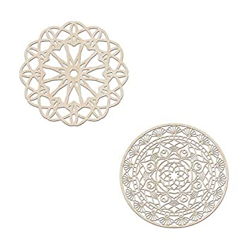 Ambesonne Mandala Wooden Wall Art Set of 2 Jumble Bohemian Detailed Floral Medallion Birch Wood Plywood Rustic Wall Art Accent for Hallway Bedroom Living Room Cafes and Offices 11,4  X 11,4  X 0.1