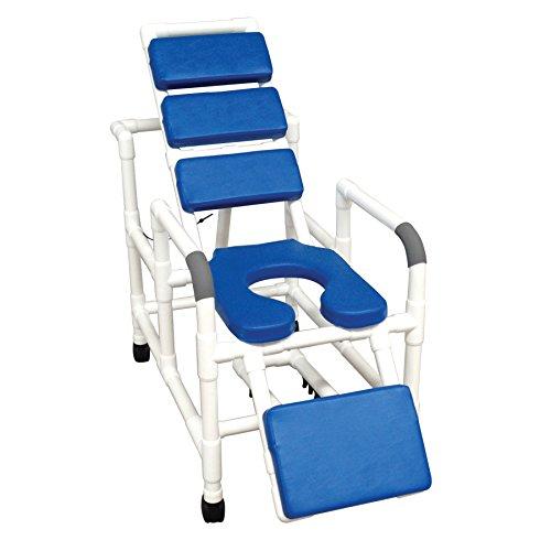 MJM International 193-SSDE-TP-BL Reclining Shower Chair, Blue Total Padding