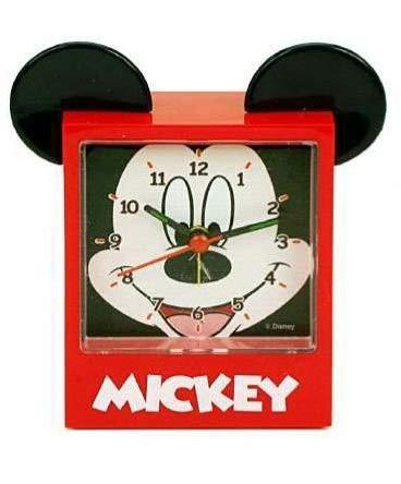 KICKKICK Sveglia Disney Mickey Mouse – Topolino Orologio da Tavolo – Dimensioni 8 x 10 Cm – Alarm Clock Colore Rosso per Bambino in Plastica