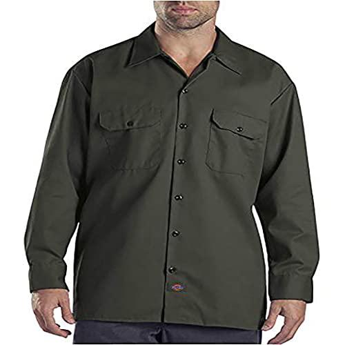 Dickies Men's Long Sleeve Work Shirt, Olive Green, X-Large