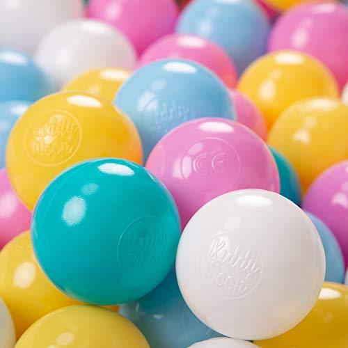 KiddyMoon 200 ∅ 6Cm Bolas Colores De Plástico para Piscina Certificadas para Niños, Blanco/Amarillo/Rosa/Azul Celeste/Turquesa