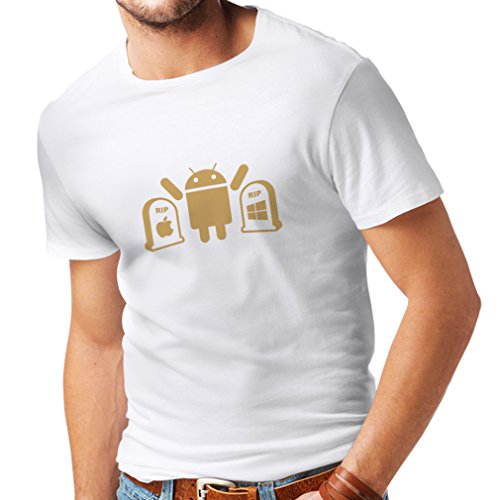 Männer T-Shirt Der Gewinner ist Android - Geschenk für Tech-Fans (Medium Weiß Gold)