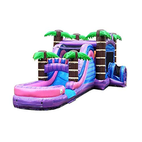 Mega Tropical Purple Marble Single Lane Water Slide & Bounce House Combo - 32' Foot Long x 16' Foot Wide x 15.5' Foot Tall - Wet or Dry Commercial Grade Inflatable - Includes: Blower and Stakes