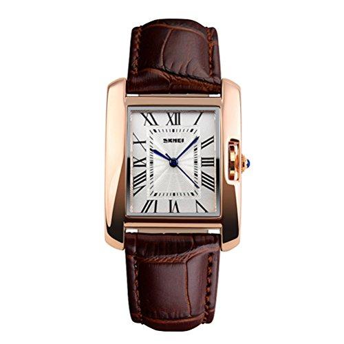 SKMEI 30M impermeable del reloj para mujer de Fashion Square Dial Business Casual relojes de las mujeres de Brown