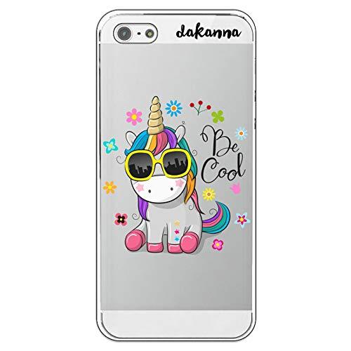 dakanna Funda para iPhone 5-5S - SE | Unicornio con Gafas Frase: Be Cool | Carcasa de Gel Silicona Flexible | Fondo Transparente