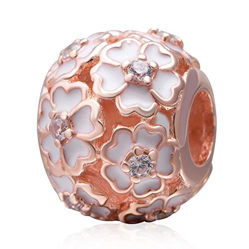 Argent sterling 925Rose Charm Fleur Charm Amour Charm anniversaire Charm porte-bonheur pour bracelet à breloques Pandora Rose Gold-plated