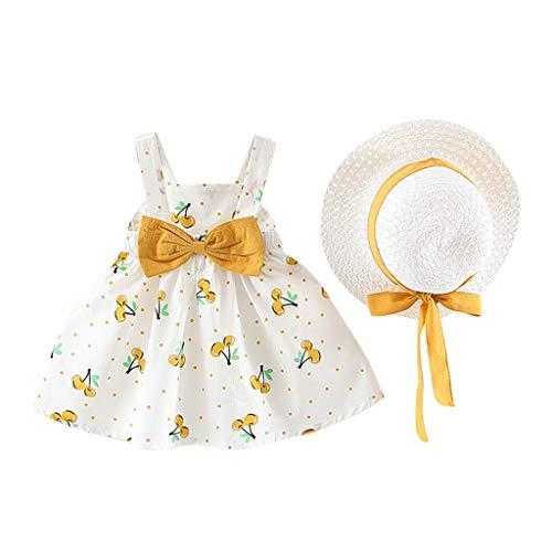Obestseller Kinder Bekleidungsset,Ärmelloses Kinderkleid mit Kirschtupfenschleife, Prinzessinkleid und zweiteiligem Strohhut,Frühlings- und Sommeranzug