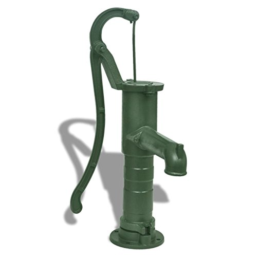 Tidyard Water Pump Cast Iron Garden Hand Water Pump with Base Well Water Pitcher Press Yard Pond Outdoor Hand Pump Green