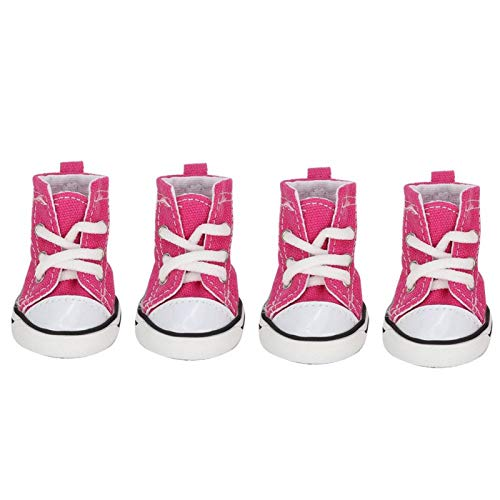 【】 Kleine hond schoenen, hond sneakers, roze dierbenodigdheden 4 stks/set voor huisdier(4 yards)