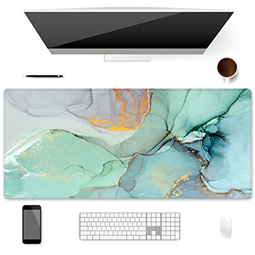 Extended Gaming Mouse Pad (35.4x15.7 inch 3mm Thick), iDonzon Soft Cute Extra Large XXL Waterproof Desk Mouse Keyboard Mat with Non-Slip Rubber Base & Stitched Edges, for Work/Game, Abstract Marble